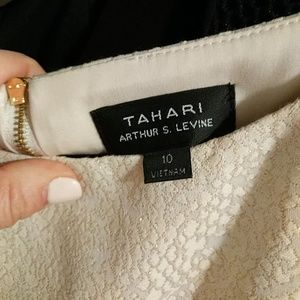 Tahari ASL Dresses - Tahari ASL Cream Gold Sheath & Exposed Back Zipper